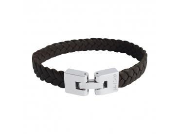 Bracelet cuir tressé fermoir