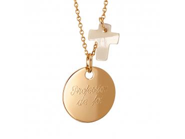 Collier personnalisé médaille et nacre
