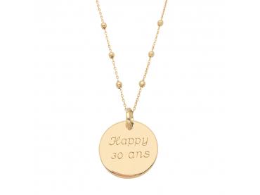 Collier médaille 20 mm chaîne perlée