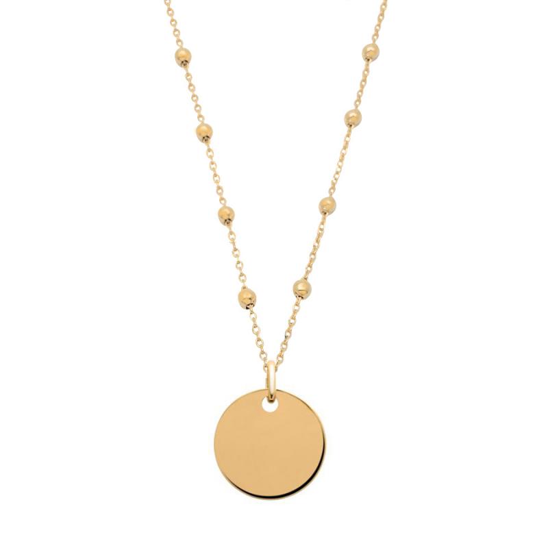 Collier médaille perlée chaîne perlée