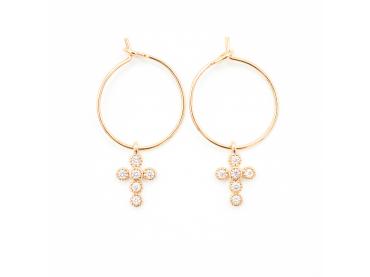 Boucles d'oreilles créoles et croix
