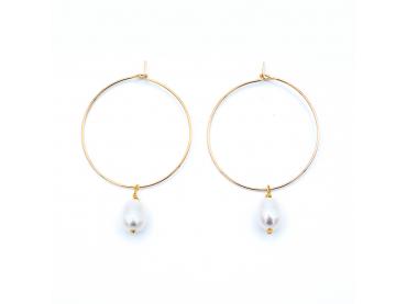 Boucles d'oreilles créoles et perle