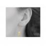 Boucles d'oreilles tige et feuilles sur chaîne
