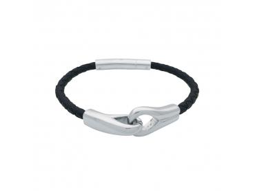 Bracelet menottes cuir tressé rond