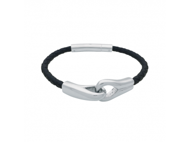 Bracelet menottes cuir tressé