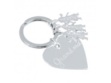 Porte clés argent coeur & enfants