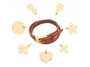Mon bracelet cuir et charms plaqué or