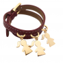 Bracelet cuir plaqué or