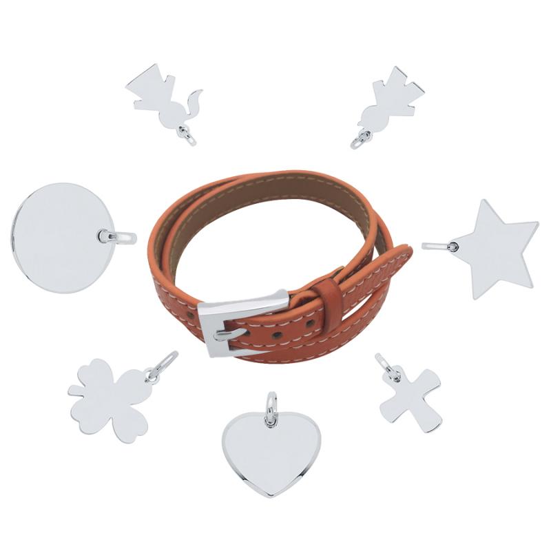 Bracelet cuir argent