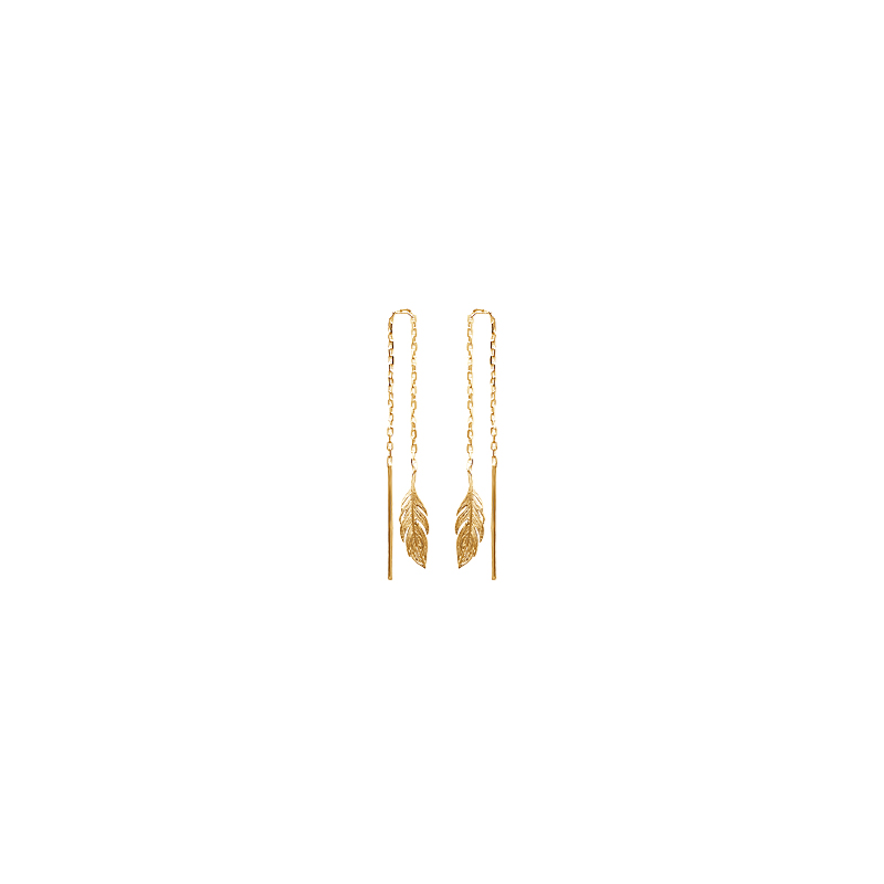 Boucles d'oreilles tige et plume sur chaîne