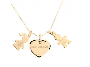Collier charms coeur et enfants