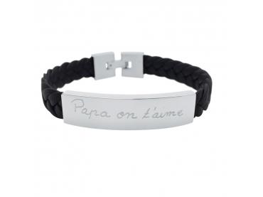Bracelet cuir tressé et plaque